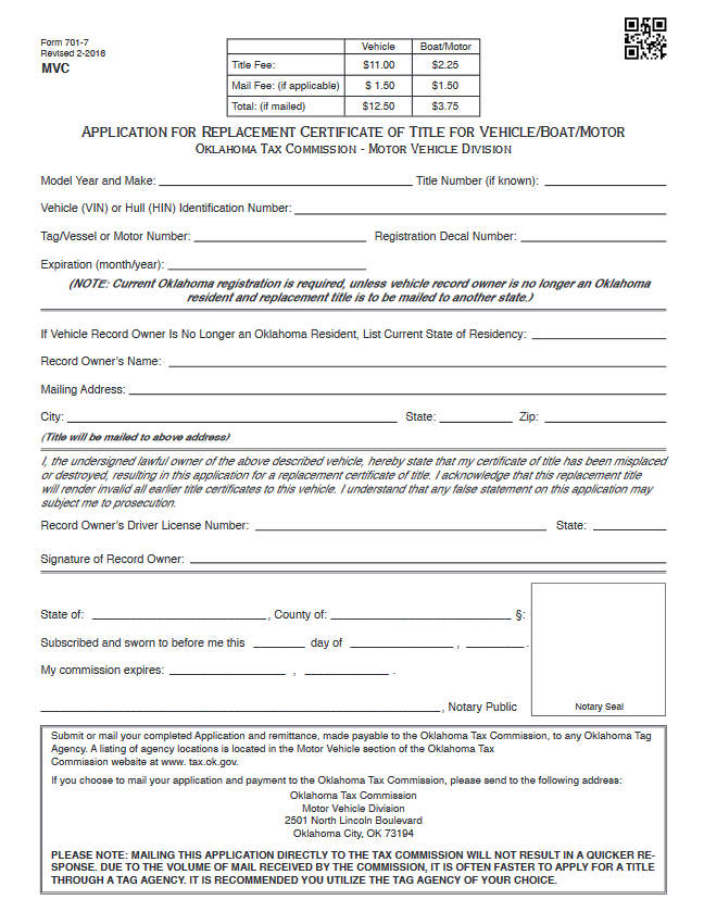 Sample Title Replacement Form of Oklahoma